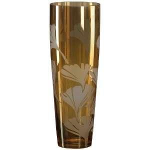 Amber Ginko Leaf 12 High Art Glass Vase