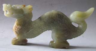 Old Chinese Nephrite Jade Carved Dragon Statue