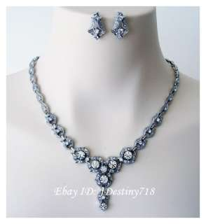 Wedding Bridal Crystal Necklace Earrings Set Prom B4911