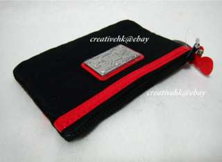 Sanrio Hello Kitty Black & Red Cosmetic Pouch Bag w/ Zipper Keychain