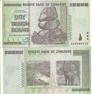 50 DOLLAR BILL PAPER MONEY ZIMBABWE TRILLION, US SELER
