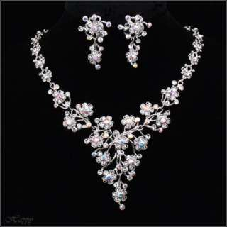 Wedding Flower Bridal Party Jewelry Clear Necklace Set Earring