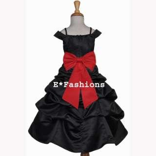 BLACK RED BRIDAL WEDDING PAGEANT FLOWER GIRL DRESS 4 5 6 6X 7 8 9 10
