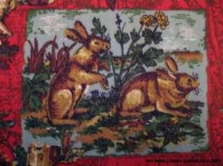 COTTON UPHOLSTERY FABRIC ~ WILD ANIMALS DEER FOX RABBIT QUAIL MALLARD