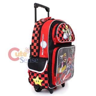 Wii Super Mario Kart School Roller Backpack Rolling Bag 16 Large