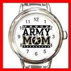 Proud Army Mom Love Mother Round Italian Charm Watch
