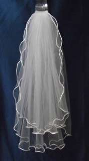 2T fingertip curling wedding veil white +comb bridal veils accessories