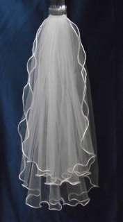 2T fingertip curling wedding veil white +comb bridal veils accessories