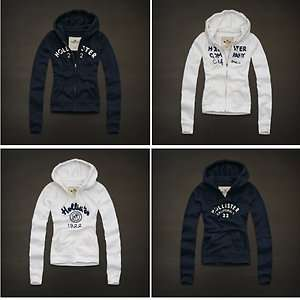 Abercrombie Womens M/ L Hoodie Navy White Zip Up Pullover Logo HCo