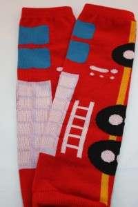KIDS BABY LEG WARMER LEGGINGS RED HOT FIRE ENGINE TRUCK