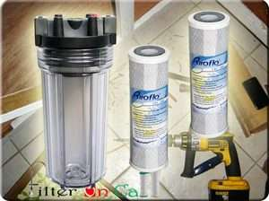 Heavy Duty Whole House Water Filter Housing & 2 Carbon Filter Standard