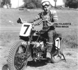 1946 FLOYD EMDE HARLEY DAVIDSON MOTORCYCLE RACING PHOTO