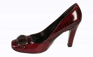 Nine West Womens Heels Saffrone Wine Leather Reptile