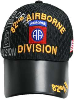 82nd 82 ND DIV AIRBORNE LEATHER BILL AIR MESH HAT CAP