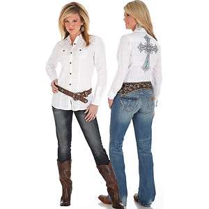 Womens Wrangler LW8421W White with Cross Studded Snap Western Shirt