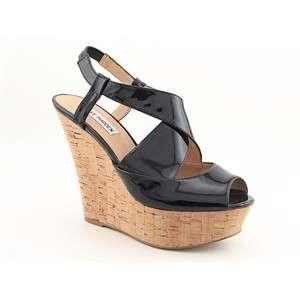Steve Madden Wheatley Platforms Wedges Peep Toe Shoes Black Womens