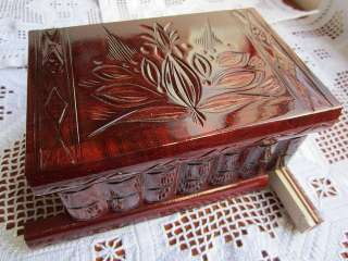 Red Wood Jewelry Box Secret Magic Puzzle Box 100% Authentic Handmade