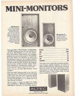 RARE 1974 Altec 887A Capri & 891A Bookshelf Speaker Ad