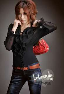 D9037 Japan Korea Fashion Women Black Ruffle Collar 2 in 1 Ladies