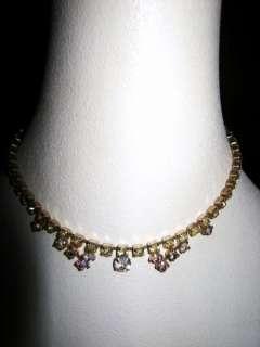 Vintage Iridescent Austrian Rhinestone Choker Necklace Base Metal