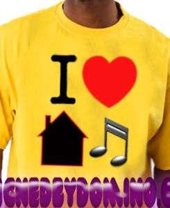 Love House Music YELLOW Tee Shirt Dance ejoe garage