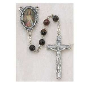 GLASS WITH DIVINE MERCY OF JESUS PHOTO CENTER ROSARY: Everything Else