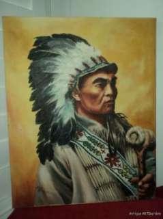 VINTAGE American Indian WARRIOR CHIEF Original Oil 1981
