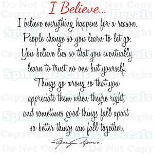 BELIEVE MARILYN MONROE Quote Vinyl Wall Decal Child