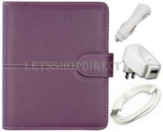 Purple Leather Case Cover for  Kindle Touch+USB 2.0 Cable+Car