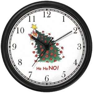 Cat in Christmas Tree   Cat Cartoon or Comic   JP Animal Wall Clock by