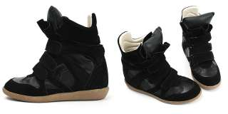 Womens Black High Top Strap Sneakers Shoes US 5~8 / Ladies Leather