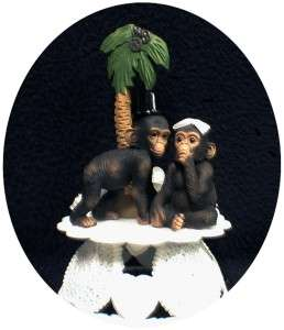 Funny Monkey Chimp Ape Wedding Cake topper Groom top Palm tree
