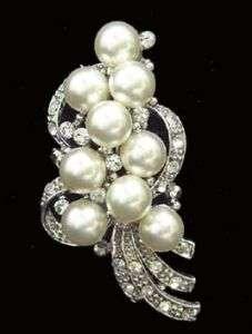 Swarovski Crystal & Glass Pearl Wedding Bridal Brooch