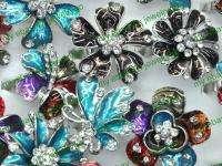 Wholesale jewerly 10 enamel crystal flower rings HC38