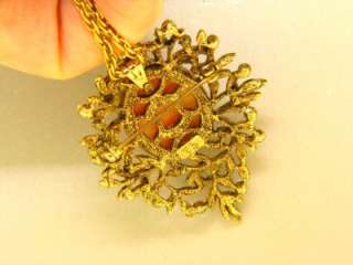 SIGNED ACT 2 CELLULOID CAMEO SEED PEARL VINTAGE 24 GOLD TONE NECKLACE