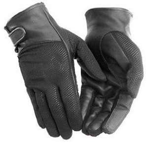 River Road Pecos Black Leather & Mesh Motorcycle Gloves