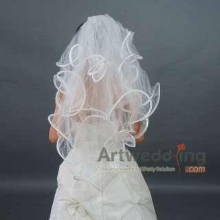 4T New White/Ivory Ruffle Satin Edge Wedding Bridal Veil Headpieces