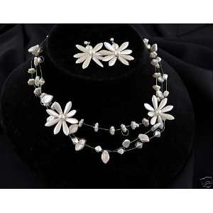 White Pearl Magnolia Flower Necklace Earring Set, Floating