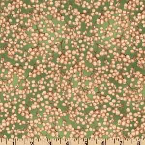 44 Wide Autumn Leaves Berry Sprigs Green Fabric By The