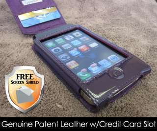iPhone 4 Purple Patent Leather Credit Card Wallet Case