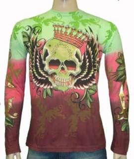 Christian Audigier LS Crown Skull W/ Wings T Shirt Clothing