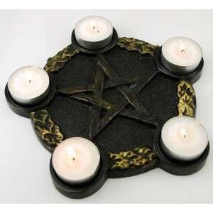 Pentagram Candle Holder Altar Plate Wicca Wiccan Metaphysical