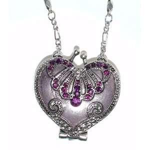 Vintage Heart Locket Necklace   Amethyst Austrian Crystal