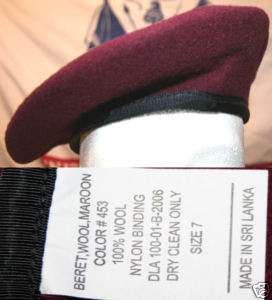 MIL SPEC ARMY AIRBORNE MAROON WOOL BERET SIZE 7 NEW