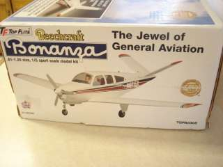 TOP FLITE BEECHCRAFT BONANZA R/C MODEL AIRPLANE KIT ** 1/5 SCALE