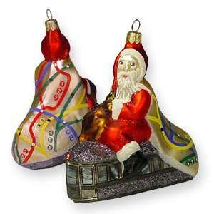 Glass Ornament, Subway Santa, Exclusive Mold by Mia