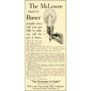 1905 Ad McLewee Gas Lamps Home Burner Light Bulbs Kerosene Lantern