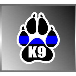 K9 Canine Police Dogs Paw Design Blue Ribbon Vinyl Decal