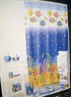 ALLURE TROPICAL FISH SEAHORSE CORAL SHOWER CURTAIN NEW