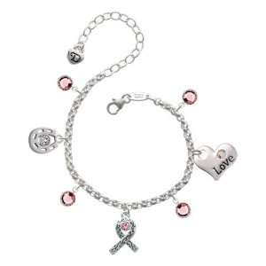 Silver Ribbon with Scrollwork & Pink Swarovski Crystal Love & Luck